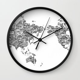 Passport Stamp Map 1 Wall Clock