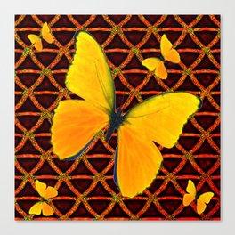 YELLOW BUTTERFLIES BROWN ART Canvas Print