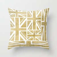 union jack Throw Pillows featuring UNION JACK by Oksana Smith