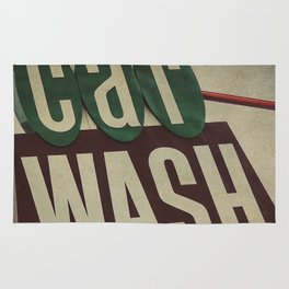 Retro Car Wash Sign Rug