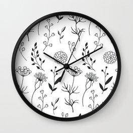Minimalist Flowers Wall Clock