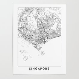 Singapore White Map Poster