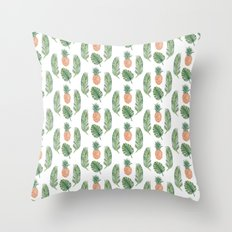 PINEAPPLES AND LEAVES WHITE Throw Pillow