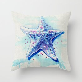 Starfish Waters I natural Throw Pillow