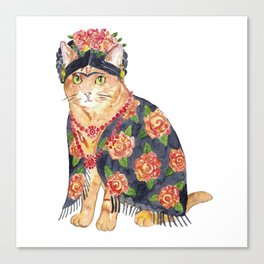 Frida Kahlo cat with flower wreath Painting Wall Poster Watercolor Art Colorful Decor Print Pet Drawing portrait gig funny room nursery Canvas Print