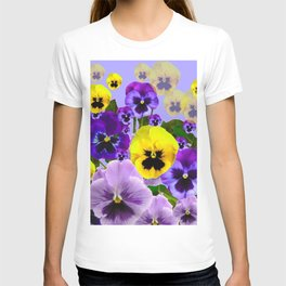 SPRING PURPLE & YELLOW PANSY FLOWERS T-shirt