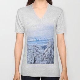 White out #mountains #winter Unisex V-Neck