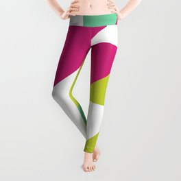 Hot Pink and Neon Chartreuse Color Block Leggings