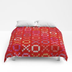 XOXO pattern - red Comforters
