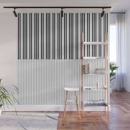The Piano Black and White Keyboard Stripes with Vertical Stripes Wall Mural