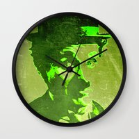 charlie chaplin Wall Clocks featuring Charlie Chaplin by Pedro Nogueira