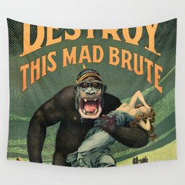 1917 WWI U.S. Army - Destroy this mad brute Enlist - Recruitment Poster by Harry R. Hopps, Wall Tapestry