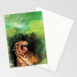 Vintage watercolor Tiger Stationery Cards