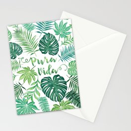 Tropical Pura Vida Palm Leaves and Monstera Watercolor Stationery Cards