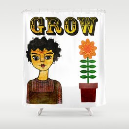 Grow Large Shower Curtain