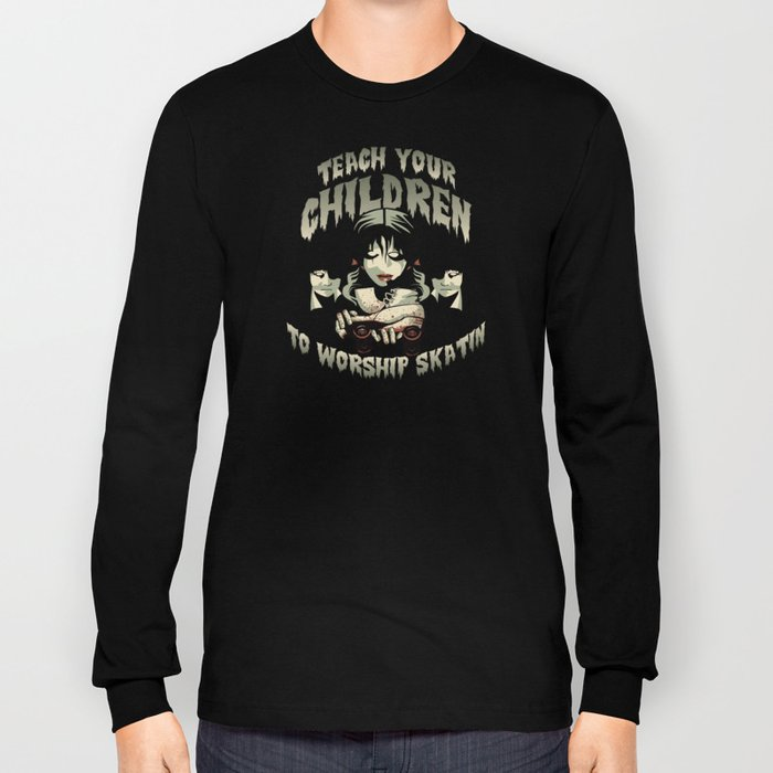 Teach Your Children to Worship Skatin Roller Derby Art - Pink Long Sleeve T-shirt