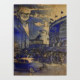 Harry Caray and Wrigley Field of yesterday Poster