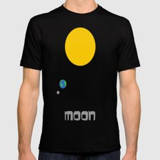 The Moon in Minimal Mens Fitted Tee MEDIUM Black