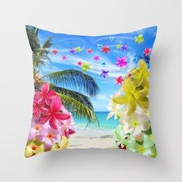 Tropical Beach and Exotic Plumeria Flowers Throw Pillow