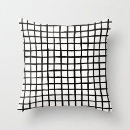 Strokes Grid - Black on Off White Throw Pillow