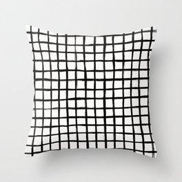 Strokes Grid - Black on Off White Throw Pillow