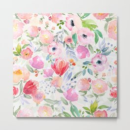 Watercolored pastel flowers in pink on white Metal Print
