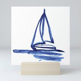 Sailboat in Blue Ink (Second in Set of Three) Mini Art Print