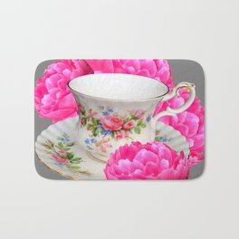 FLORAL TEA CUP & PEONY FLOWERS YELLOW ART Bath Mat