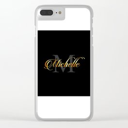 Name and initial of a girl Michelle in golden letters Clear iPhone Case