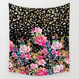 Modern watercolor spring floral and gold dots pattern Wall Tapestry