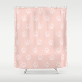 Cute Cat Paw Print Pattern – Baby Pink Shower Curtain