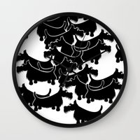 terrier Wall Clocks featuring Scottish Terrier by mailboxdisco