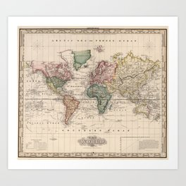 Vintage Map of The World (1833) Art Print