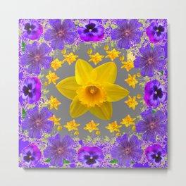 ULTRA VIOLET PURPLE & YELLOW FLOWERS ART DESIGN Metal Print