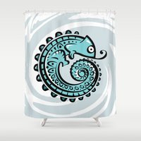 chameleon Shower Curtains featuring chameleon by Erdogan Ulker