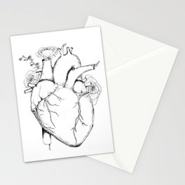 Black and White Anatomical Heart Stationery Cards