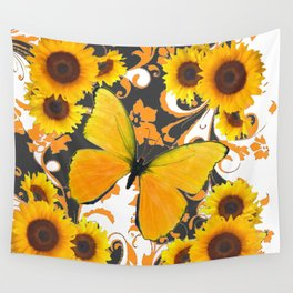 GOLDEN BUTTERFLY & SUNFLOWERS ARABESQUES Wall Tapestry