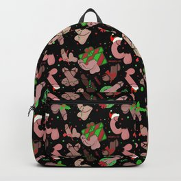 Merry Dickmas, Black Pattern Backpack