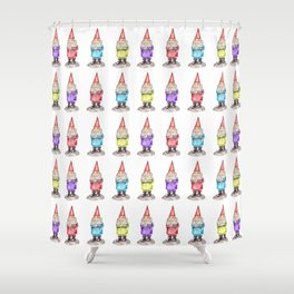 Colorful Watercolor Lucky Gnomes Shower Curtain