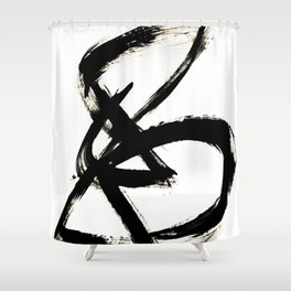 Brushstroke 3 - a simple black and white ink design Shower Curtain