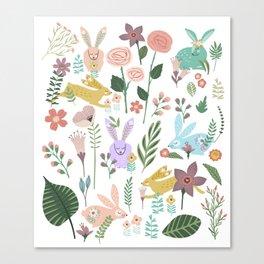 Springtime In The Bunny Garden Of Floral Delights Canvas Print
