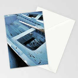 Blue Painted Rustic Wooden Fishing Boats Stationery Cards