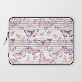 Minimal Black and White Stripes and Rose Gold Butterflies Laptop Sleeve