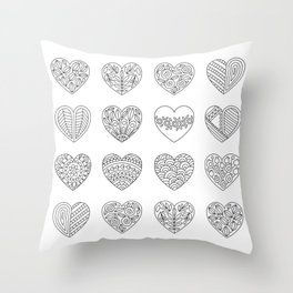 Tiny Hearts and Patterns, Adult Coloring Pattern Throw Pillow