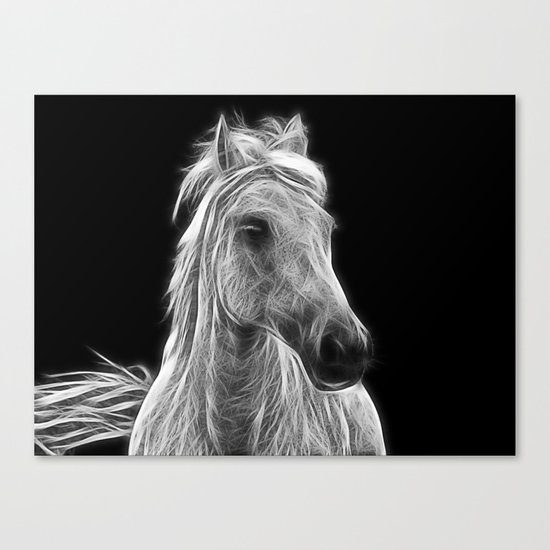 enegetic white horse Canvas Print