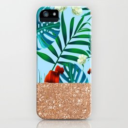 Tropical blue floral rose gold iPhone Case