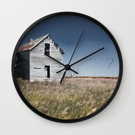 Prairie Farmhouse and Migrating Geese Wall Clock