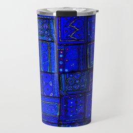 (N17) Calm Indigo Blue Boho Traditional Moroccan Artwork Travel Mug