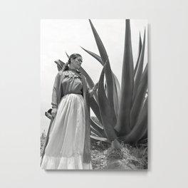 Frida Kahlo and Agave Plant, Black and White, Vintage Art Metal Print