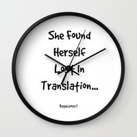 lost in translation Wall Clocks featuring Lost In Translation by Louisa Catharine Photography